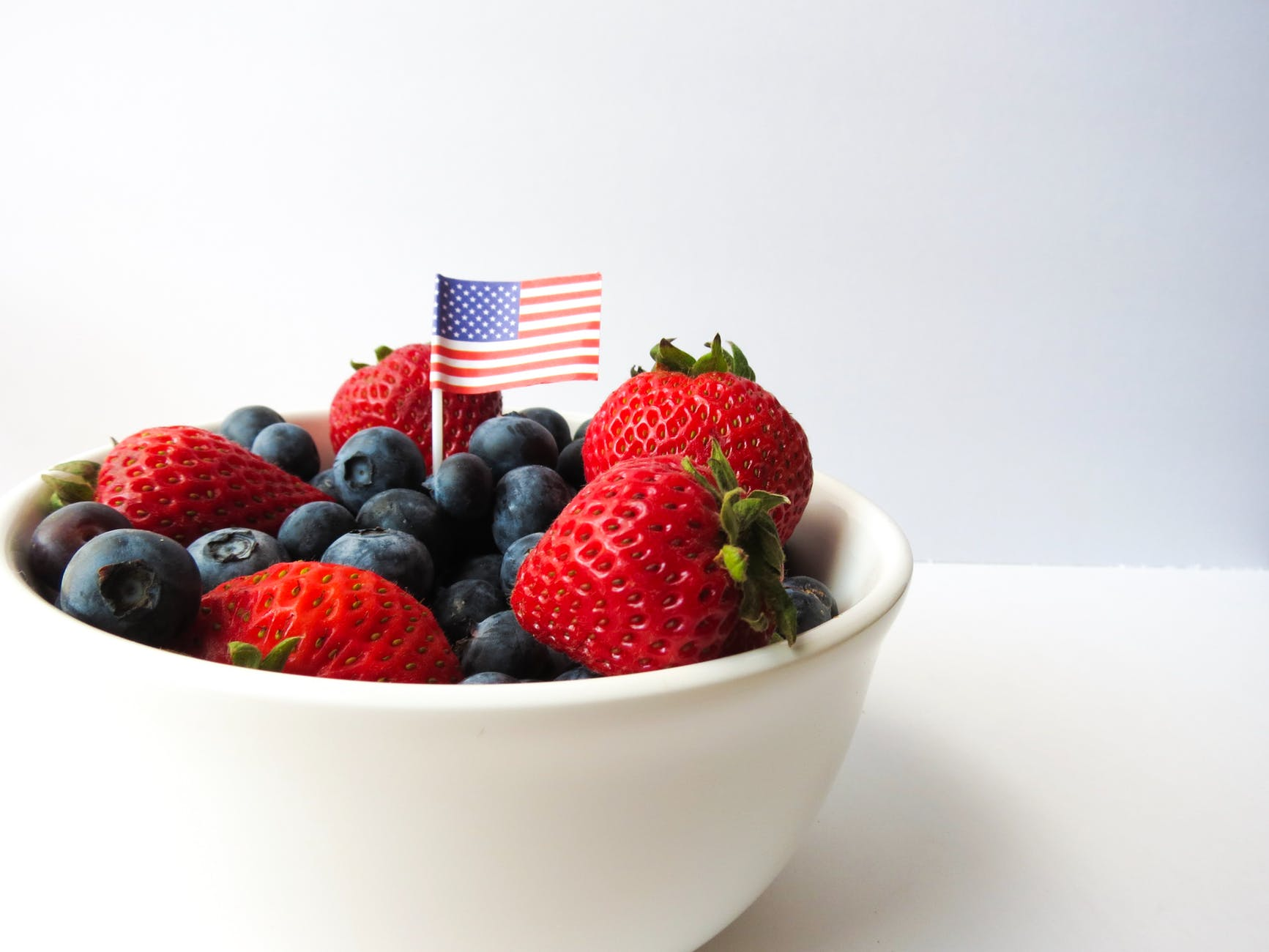 american flag berries bowl close up