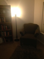 A cozy reading corner.